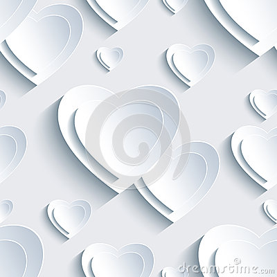 Free Grey Valentine S Day Seamless Pattern With 3d Hearts Stock Image - 49663841