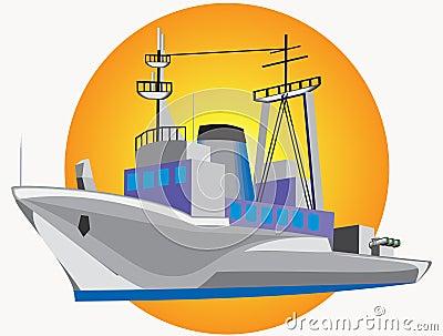 Grey warship