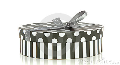 A grey white striped dotted giftbox