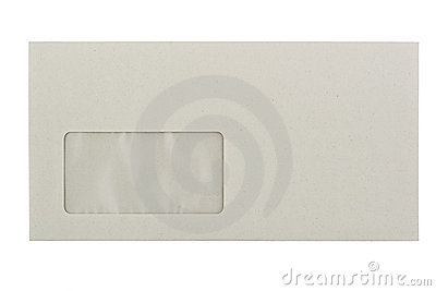 Greyish Envelope with a window, isolated on white
