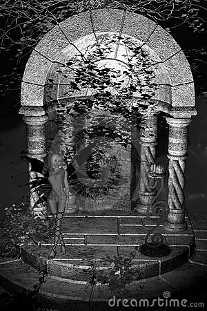 Greyscale Fairy Temple Background
