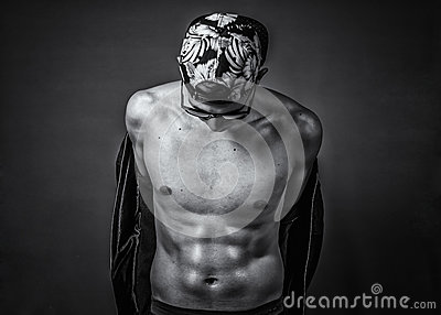 Greyscale Photography Of Man Wearing Cap While Topless Free Public Domain Cc0 Image