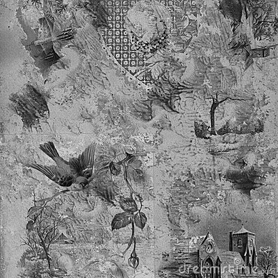Greyscale Scrapbook painted collage Background