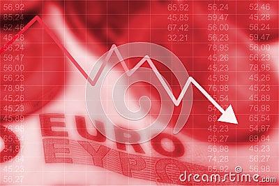 Gráfico da seta que vão para baixo e euro- moeda