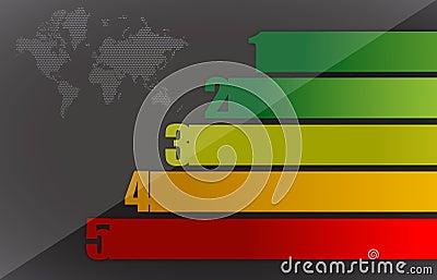 Gráfico e mapa coloridos de negócio