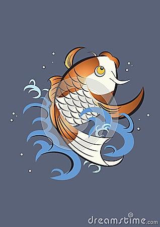 Gráfico japonés de los pescados del koi