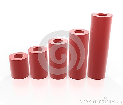 Gráfico rojo del tubo