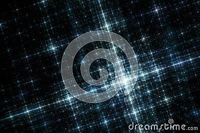 Grid of Blue City Lights at Night Fractal Image