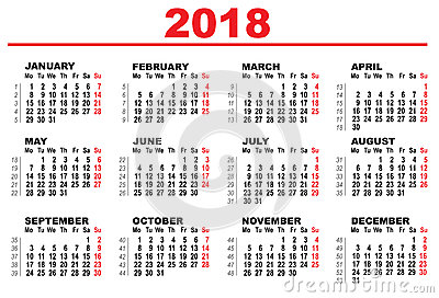 Grid calendar for 2018 Vector Illustration