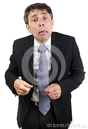 Grief-stricken businessman crying