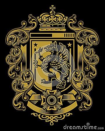 Free Griffin Flourish Crest Stock Image - 29926581