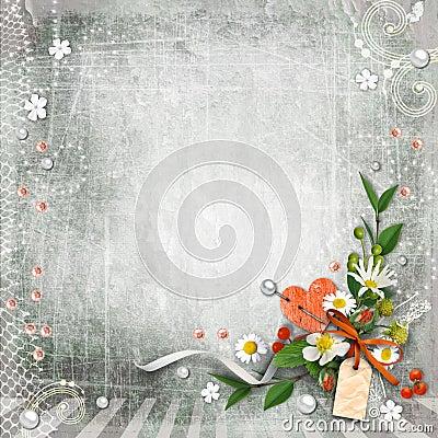 Grijze geweven wijnoogst als achtergrond met bloemen stock fotografie afbeelding 25966572 - Wijnoogst ...