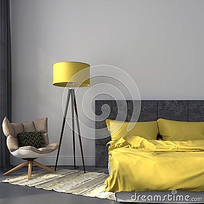 Grijze Slaapkamer En Geel Decor Stock Foto - Afbeelding: 41536105