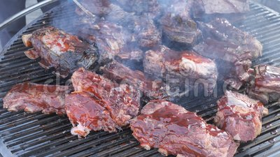 Grill Americano clássico, Carne Fresca Frita, Chicken Barbecue, Pork, Ribs, Kebab, Hamburger, BBQ, Barbecue, Josper, Beef video estoque