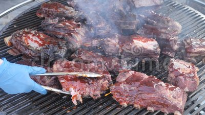 Grill, Carne Fresca, Chicken Barbecue, Fatty Grilled Ribs, Kebab, Hamburger, BBQ, Barbecue, Josper, Beef vídeos de arquivo