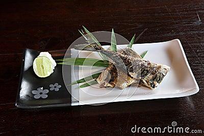 Grill fish , japanese food saba fish grill