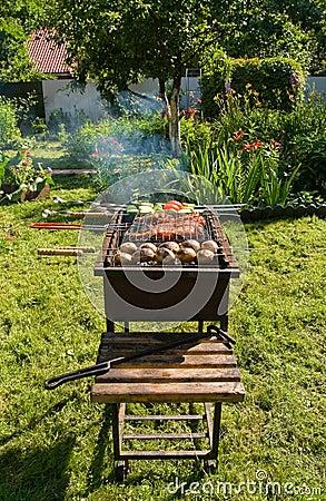 Grill in a garden