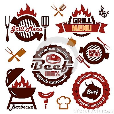 Free Grill Menu Design Elements Set Stock Photography - 40695822