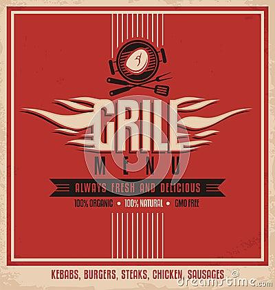 Grill menu retro poster design template