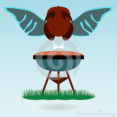 Grill Roasted Chicken Turkey Cock, Wings. Stock Vector - Image ...
