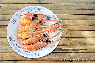 Grill Shimp On The Plate Stock Image - Image: 16637141