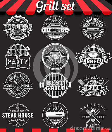 Free Grill Vintage Design Elements And Badges Set On Chalkboard Royalty Free Stock Photos - 61685258