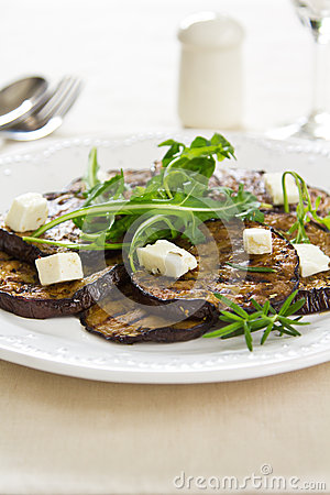 Grilled Aubergine with Feta and Rocket salad