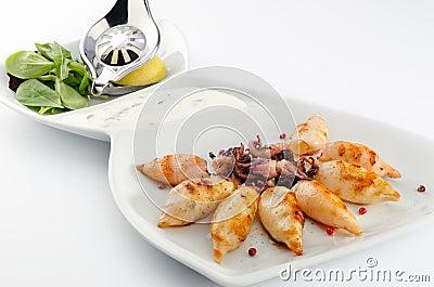 Grilled baby calamari
