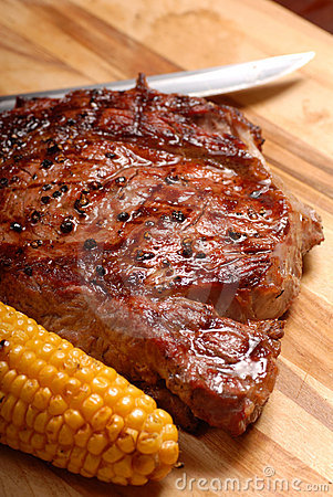 A grilled BBQ ribeye steak