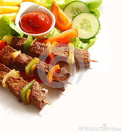 Free Grilled Beef And Pepper Kebabs Stock Photos - 35696903