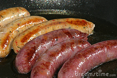 Grilled beef and pork sausages