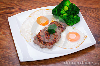 Grilled beef steak with eggs