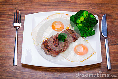 Grilled beef steak with eggs.