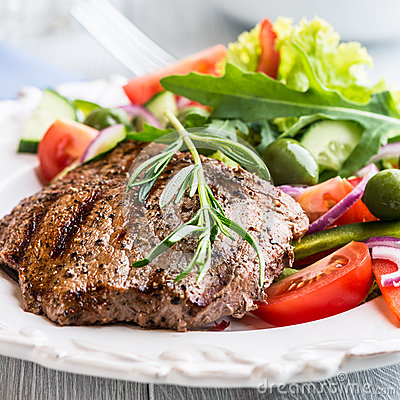 Grilled Beef Steak With Salad Stock Photos - Image: 25075673