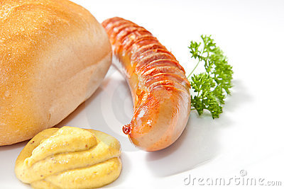 Grilled Bratwurst with mustard, bread