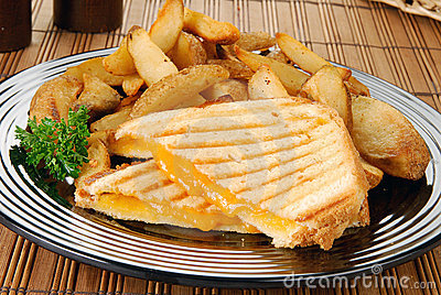 Grilled cheese sandwich and fries