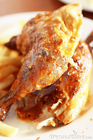 Grilled chicken and chips