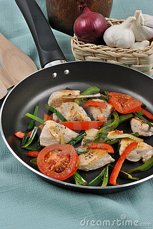 Grilled chicken and vegetable pan