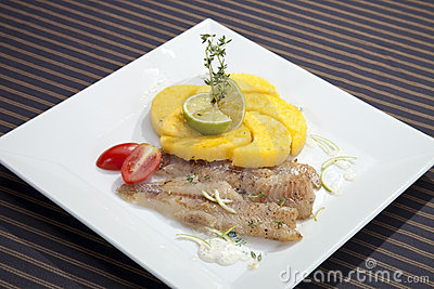 Grilled Codfish With Baked Corn Polenta Royalty Free Stock Photos ...