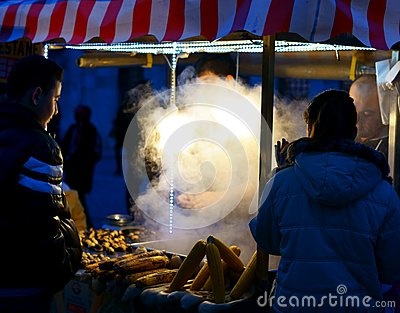 Grilled Corn in Old Town Istanbul Editorial Stock Image