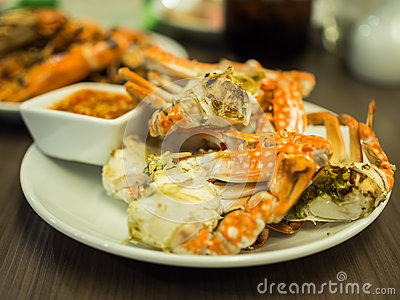 Grilled crabs Stock Photo