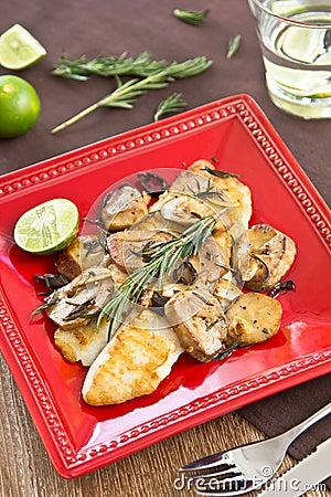 Grilled Dory fish with sautéed mushroom