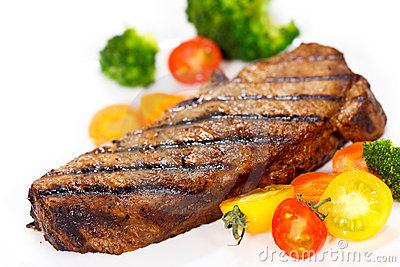 Grilled Gourmet Steak with Broccoli,Cherry Tomato
