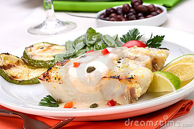 Grilled halibut