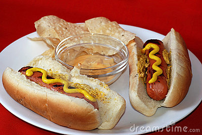 Grilled Hot Dogs with Chips and Dip