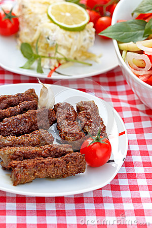Free Grilled Kebabs - Kebab Grill Stock Photography - 45615552