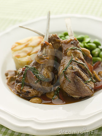Grilled Lamb Cutlets Chasseur sauce Pomme Anna