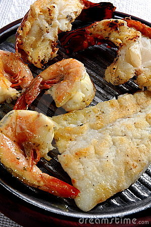 Grilled Lobster Tails and Fish