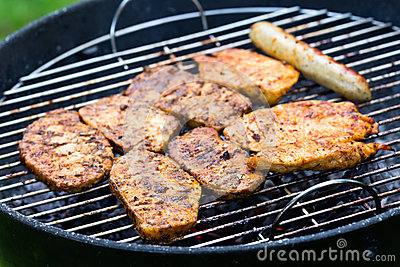 Grilled Meat,Barbecue in the Garden