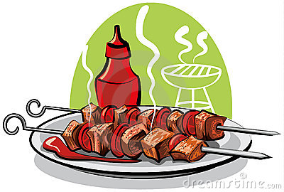 Grilled meat and ketchup